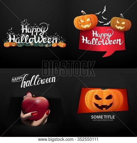 Happy Halloween, Large Set Halloween Postcards And Signs With Pumpkins Jack On Black Background