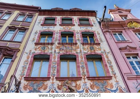 Mainz, Germany - August 04, 2019: Colorful Facade Of The Historic Farmacy Building In Mainz, Germany