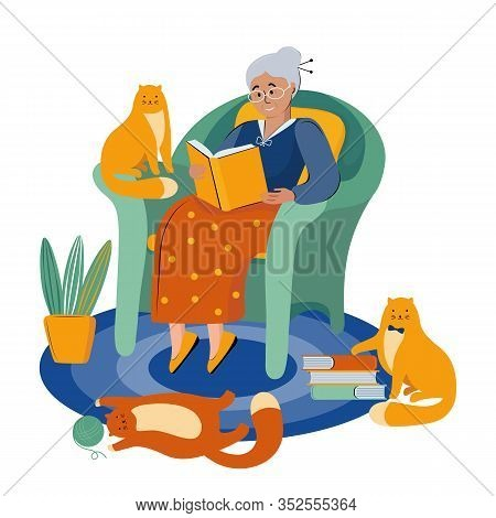 Literary Fan. Grandmother With Glasses Is Sitting In A Big Chair Reading A Book. Retired Lover Of Li