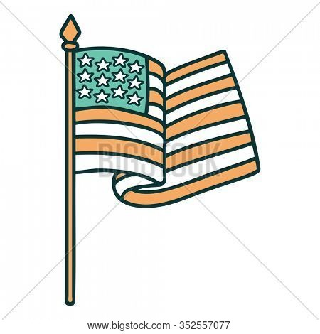iconic tattoo style image of the american flag