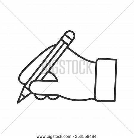 Hand Holding Pencil Linear Icon. Thin Line Illustration. Handwriting. Drawing. Taking Notes. Contour