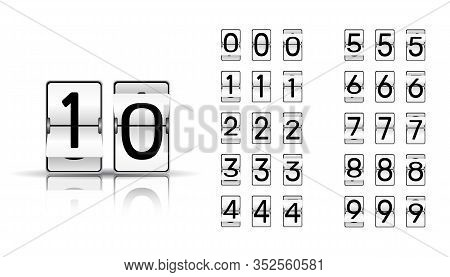 Numbers From White Mechanical Scoreboard; Flip Countdown Clock Counter; Black Digit On White Board W