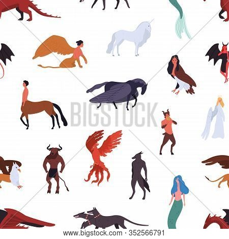 Mythical Creatures Seamless Pattern Isolated On White Background. Colorful Cartoon Characters Of Anc