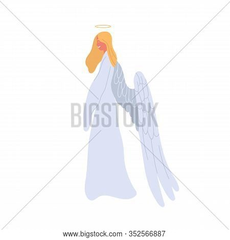 Angel Cartoon Woman In White Dress Vector Flat Illustration. Mythical Creature Female Character With