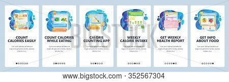 Healthy Food And Low Calories Diet. Count Calories App. Healthy Lifestyle. Mobile App Onboarding Scr