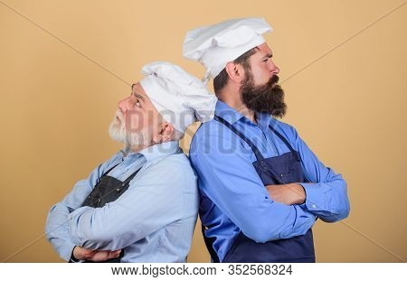 Culinary Industry. Culinary Show. Restaurant Staff. Culinary Battle. Mature Bearded Men Professional