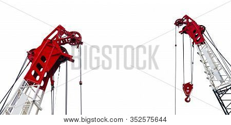 Construction Crane For Heavy Lifting Isolated On White Background. Construction Industry. Crane For