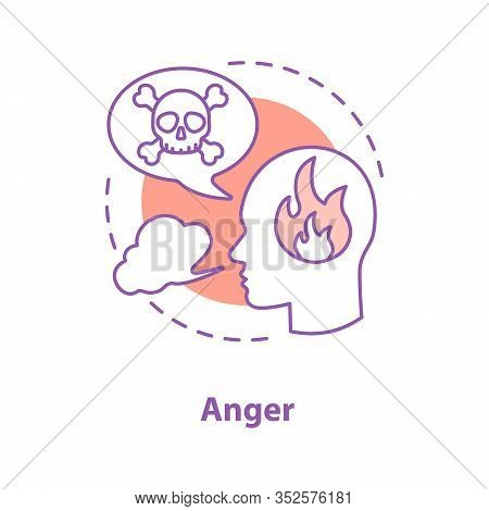 Anger Concept Icon. Wrath. Stress Idea Thin Line Illustration. Furious Person. Vector Isolated Outli