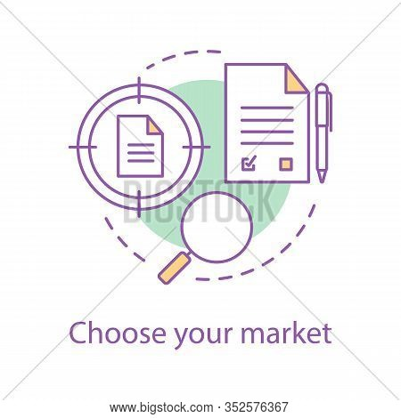 Choosing Market Segment Concept Icon. Data Searching Idea Thin Line Illustration. Contracts Finder.