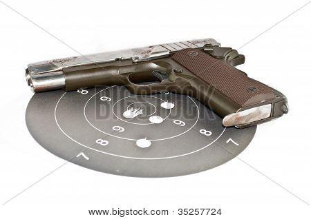 9-mm Handgun And Target Shooting
