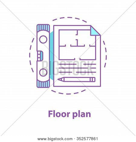 Floor Plan Concept Icon. Blueprint Idea Thin Line Illustration. Building Project. Vector Isolated Ou