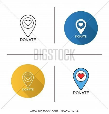 Charity Organization Location Icon. Flat Design, Linear And Color Styles. Map Pinpoint With Heart. P