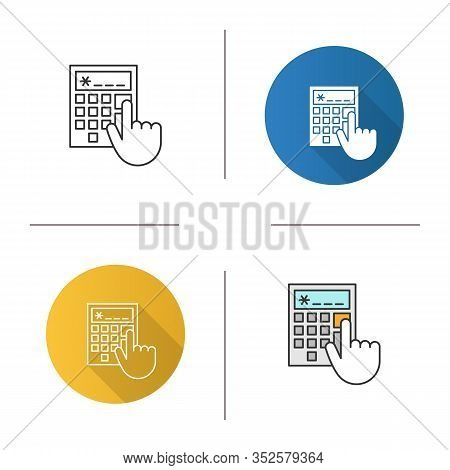 Calculator Icon. Accountants Or Bookkeepers Hand. Calculations. Flat Design, Linear And Color Styles