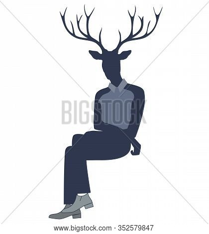 Deer Horns In Male Cartoon Character Isolated Human Figure