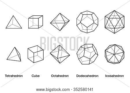 Platonic Solids Wireframe Models. Regular Convex Polyhedrons In Three-dimensional Space With Same Nu