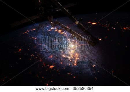 Space Background Earth With Iss. Beauty Of Universe. Elements Of This Image Furnished By Nasa