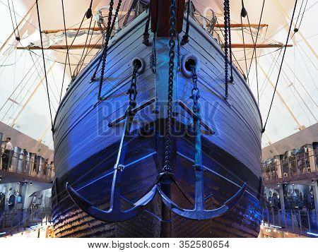 Oslo, Norway On July 2019: Two Anchors On Fram Ship In European Oslo Capital City In Norway Used By