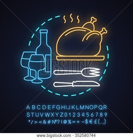 Restaurant Neon Light Concept Icon. Holiday Dinner Or Supper Idea. Food Serving. Thanksgiving Turkey
