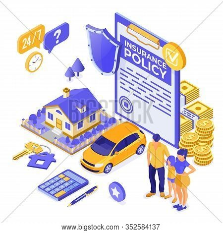 Property, House, Car, Family Insurance Isometric Concept For Poster, Web Site, Advertising With Insu