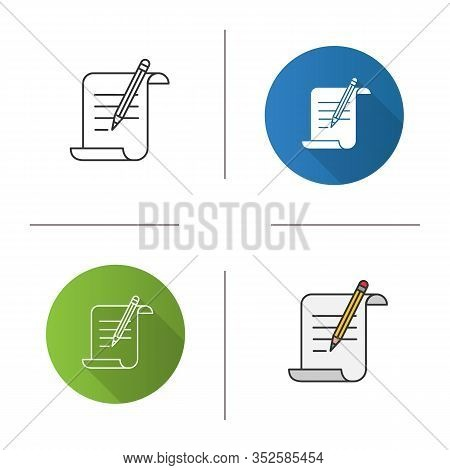 Paper Scroll With Text And Pencil Icon. Handwriting. Document, Certificate, Manuscript. Flat Design,