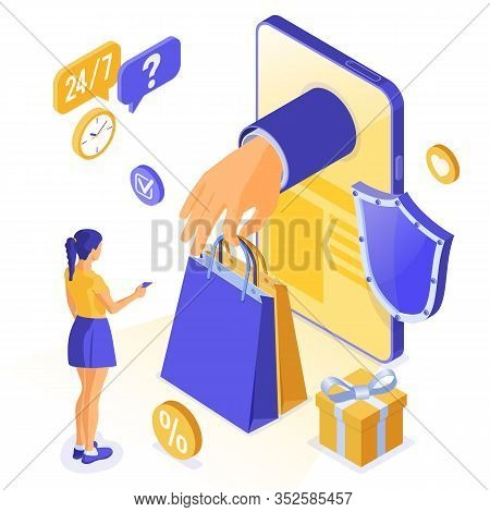 Isometric Online Shopping, Delivery, Logistics Concept. Smartphone With Hand Hold Bag Online Deliver