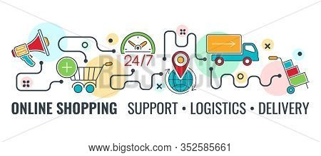 Online Shopping, Support, Delivery, Logistics Horizontal Banner With Colored Line Icons Megaphone, C
