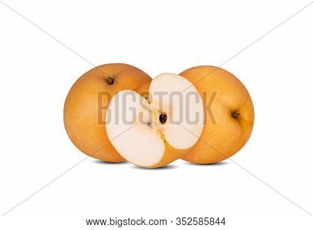 Whole And Half Cut Ripe Snow Pear Or Fengsui Pear On White Background