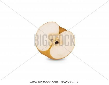 Half Cut Ripe Snow Pear Or Fengsui Pear On White Background