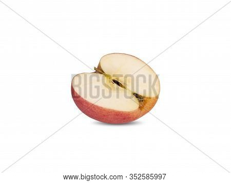 Half Cut Ripe Apple With Stem On White Background
