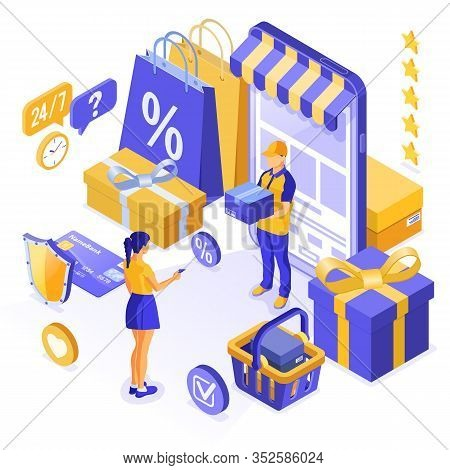 Isometric Online Shopping, Delivery, Logistics Concept. Girl Buy Online Via Smartphone With Bag, Del