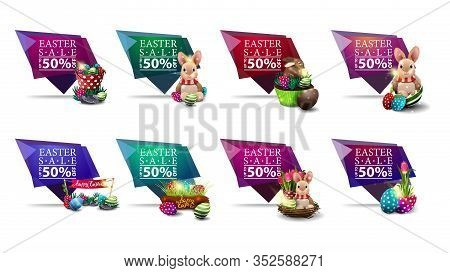 Easter Sale, Collection Geometric Discount Banners With Up To 50% Off And Easter Icons In The Form O