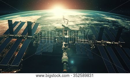 Close up ISS flying over Earth globe atmosphere. International Space Station discovery realistic planet. Sci progress concept. 3d render animation. Elements of this image furnished by NASA