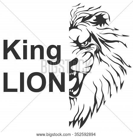 Lion Head Silhouette, Half Lion Head In Black Tones Isolated On White. Lion King Vector. Vector Illu