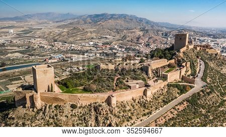 Castle Of Lorca On A Sunny Day. Aerial View