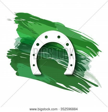A Horseshoe Silhouette Against A Background Of Green Brushstrokes