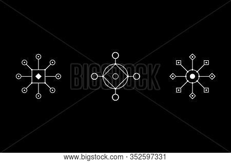 Magic Geometry White Symbol Set. Circle, Square, Rhombus With Inscribed Figures. Vector Illustration