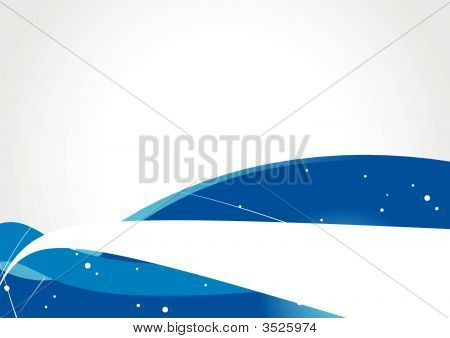 A blue waves abstract design background vector illustration poster