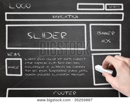 Website Wireframe Sketch On Blackboard
