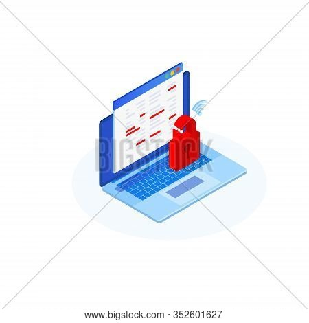 Cyberattack Concept. Isometric Computer With A Red Broken Lock. Modern Technologies Of Digital Onlin