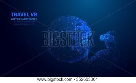 Abstract 3d Isolated Man In  Vr Headset Touches Innovation Visual Of Earth. Low Poly Wireframe Digit