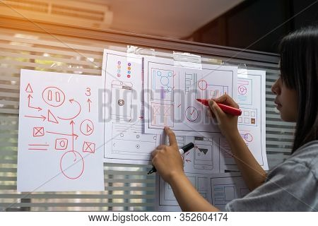 Designer Web Development Website Template Design User Ui Application On Paper Or Framework Layout Fo
