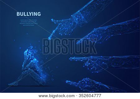 Bulling. Young Woman In Depression Seats On Floor And Big Hands Touching On Her. Low Poly Wireframe