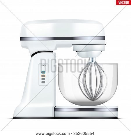Classic Stand Mixer. Food Blender. Electronic Kitchen Appliance. Realistic Original Design And White