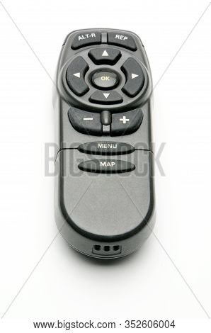 Remote Control For Digital Tv Tuners, Music Players, Navigator, And Disk Drives On An Isolated White