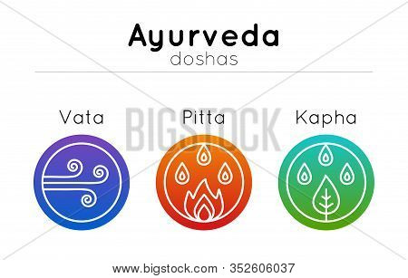 Vector Ayurveda Illustration With Set Of Symbols And  Ayurvedic Body Types In Modern Flat Style And