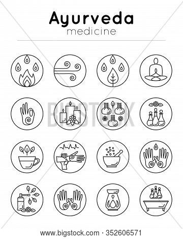 Vector Illustration With Set Of Isolated Ayurveda Icons On White Background In Trendy Linear Style F