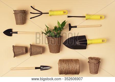 Flat Lay With Garden Tools Gardening Spring Or Summer Concept Garden Shovel Rake And Thread Are Lyin
