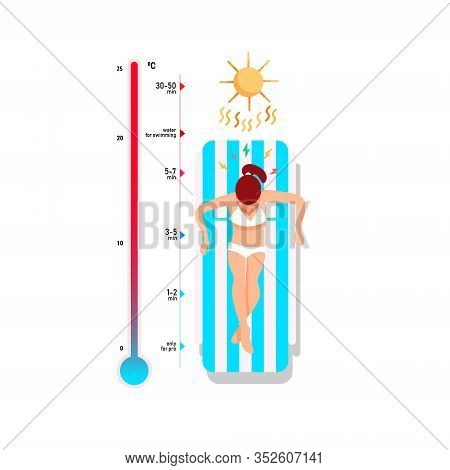 Top View Of A Young Girl Lying In A Striped Deck Chair Under The Sun. Thermometer With Temperature S