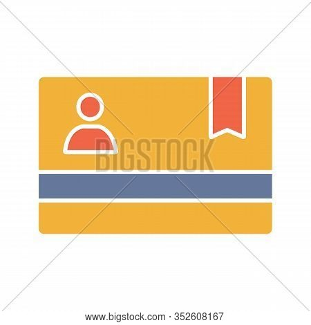 Membership Card Glyph Color Icon. Silhouette Symbol On White Background With No Outline. Business Ca