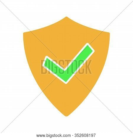Verified User Glyph Color Icon. Silhouette Symbol On White Background With No Outline. Protection, S